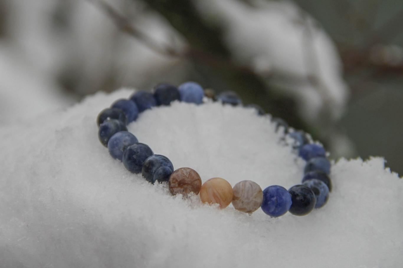 Blue Coral and Agate Stone Bracelet - 6mm2