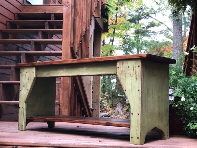 Custom made Rustic Style Bench - Distressed Green