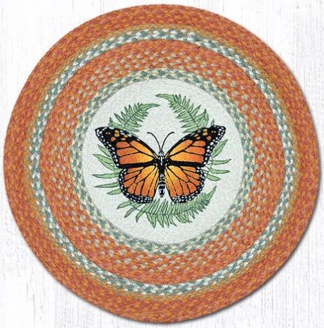 Earth Rugs - Hand Stenciled Monarch Round Patch Rug - 27 x 27