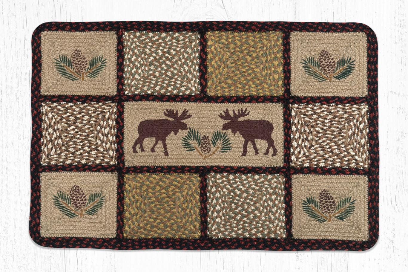 Earth Rugs - Moose Pinecone Printed Quilt Patch Rug -2