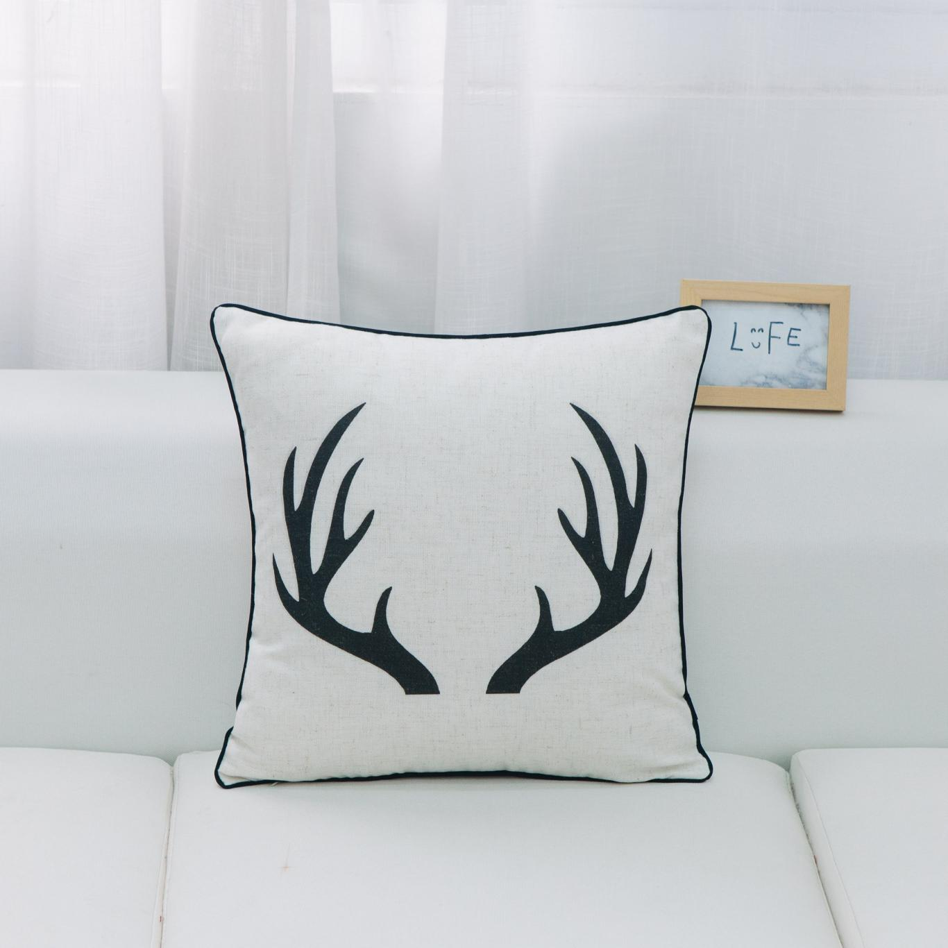 HUI - Antler Pillow - Feather Filled - 18 x 18-3