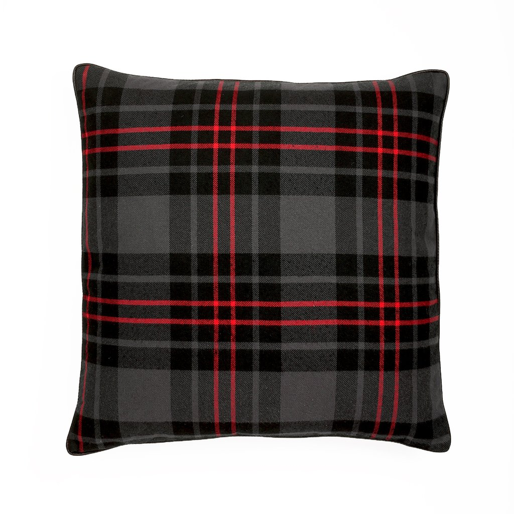 HUI - Edinburgh Tartan Plaid Dark Grey Pillow - Feather Filled - 24 x 24
