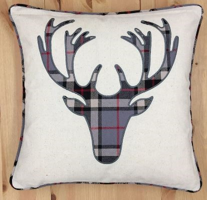 HUI - Moose head Edinburgh Pillow - Soft Grey