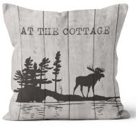 Hot Line Apparel - At the Cottage Moose Outdoor Pillow