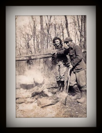 Mom and Aunt Tracey making maple syrup at Trails End April 5, 1945