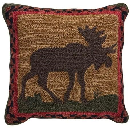 Park Designs - Moose Hooked Pillow - Feather Filled - 18 x 18