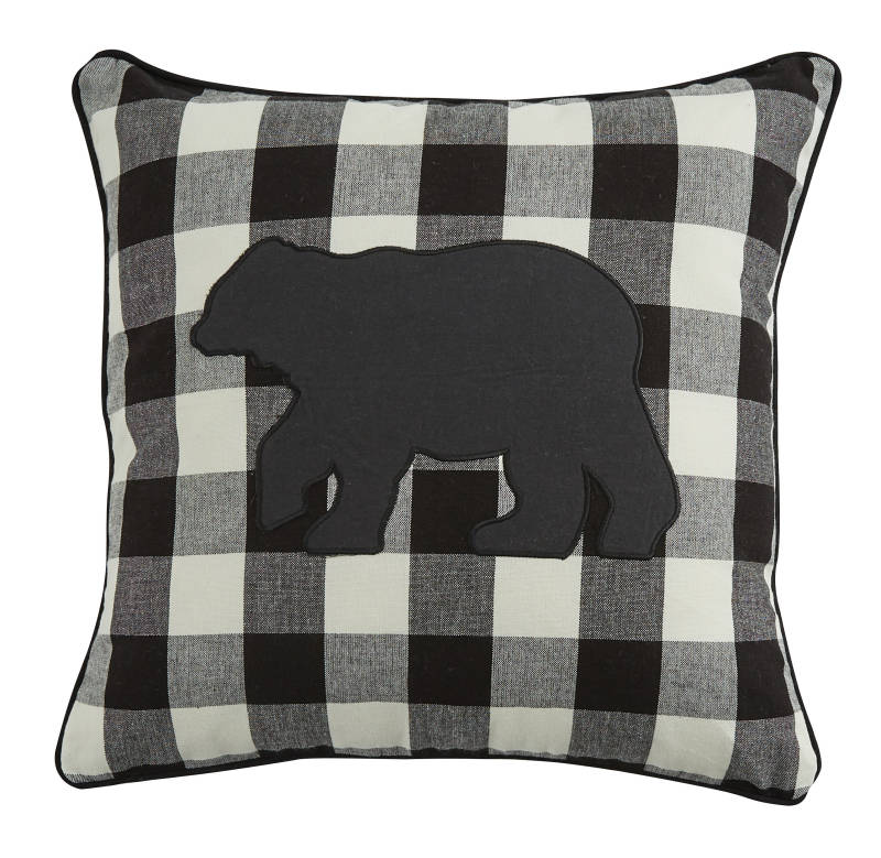 Park Designs - Wicklow Bear Applique Pillow - Black & Cream - Feather Filled