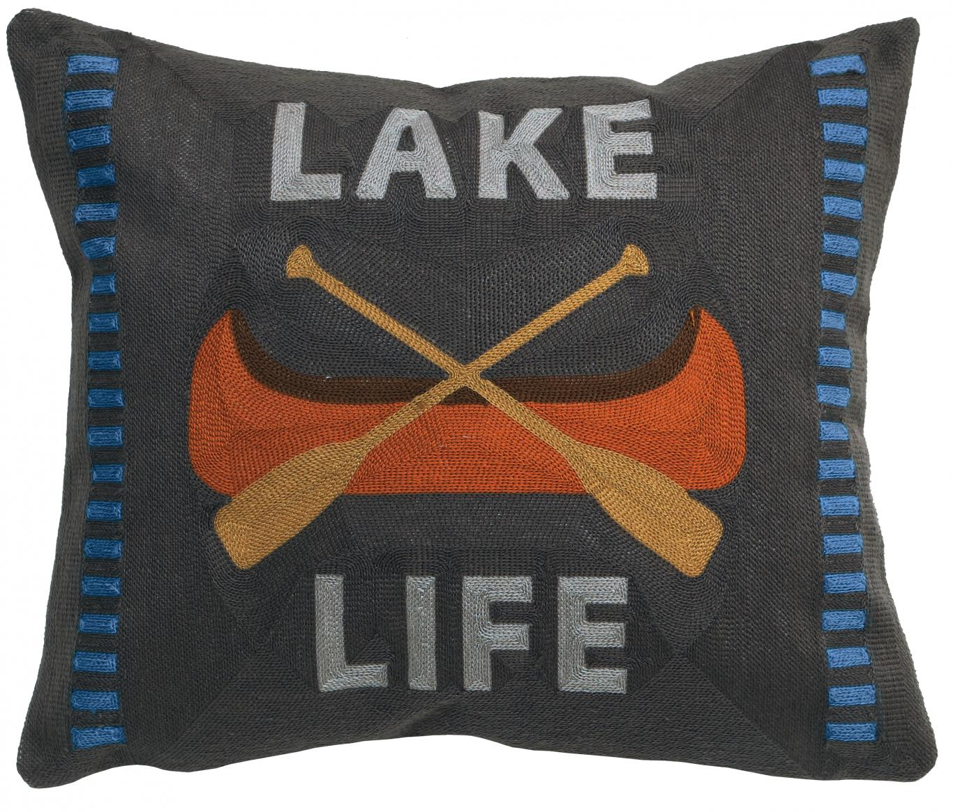 Peak Time - Lake Life Chain Stitch Pillow - Poly Filled