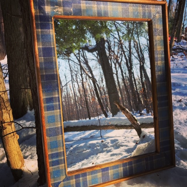 Up-cycled Mirror with Handmade Plaid Frame